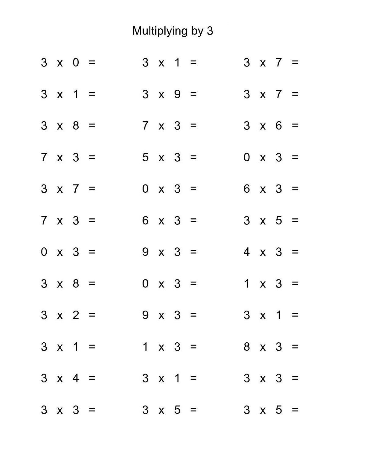 Multiplication 3s Worksheet