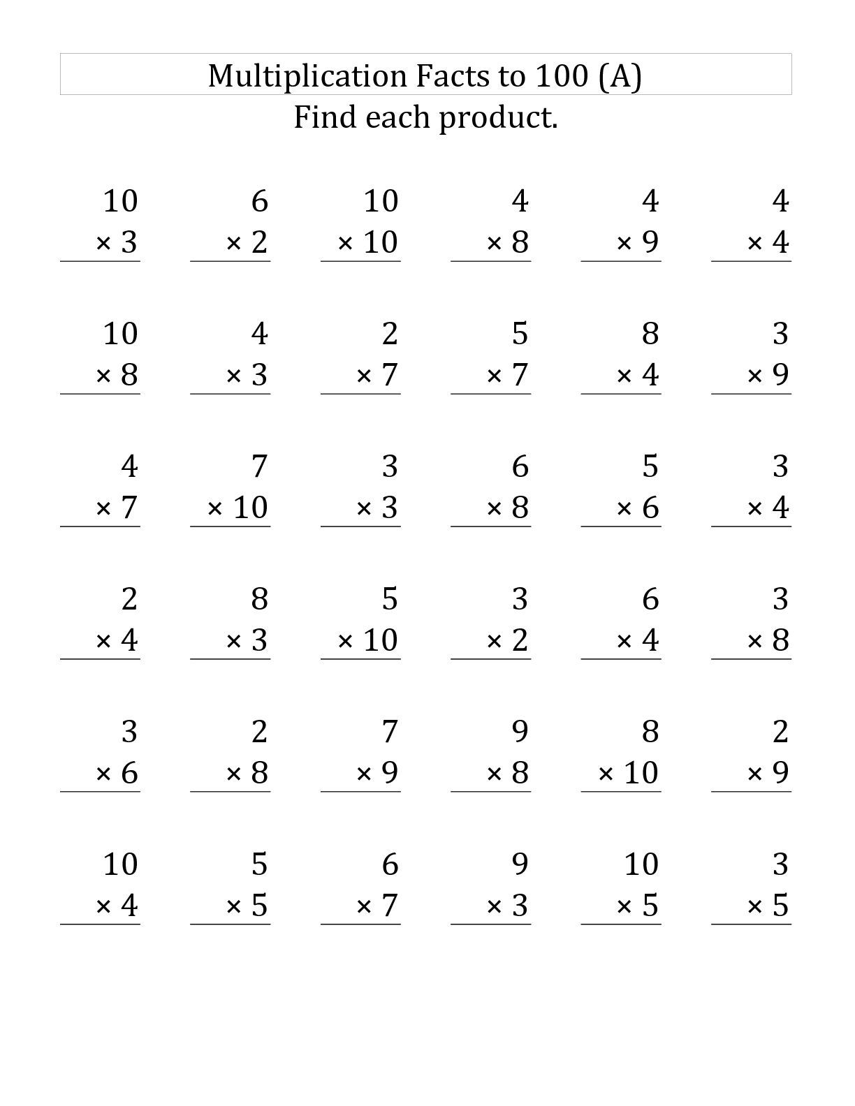 Free Printable Third Grade Multiplication Worksheets