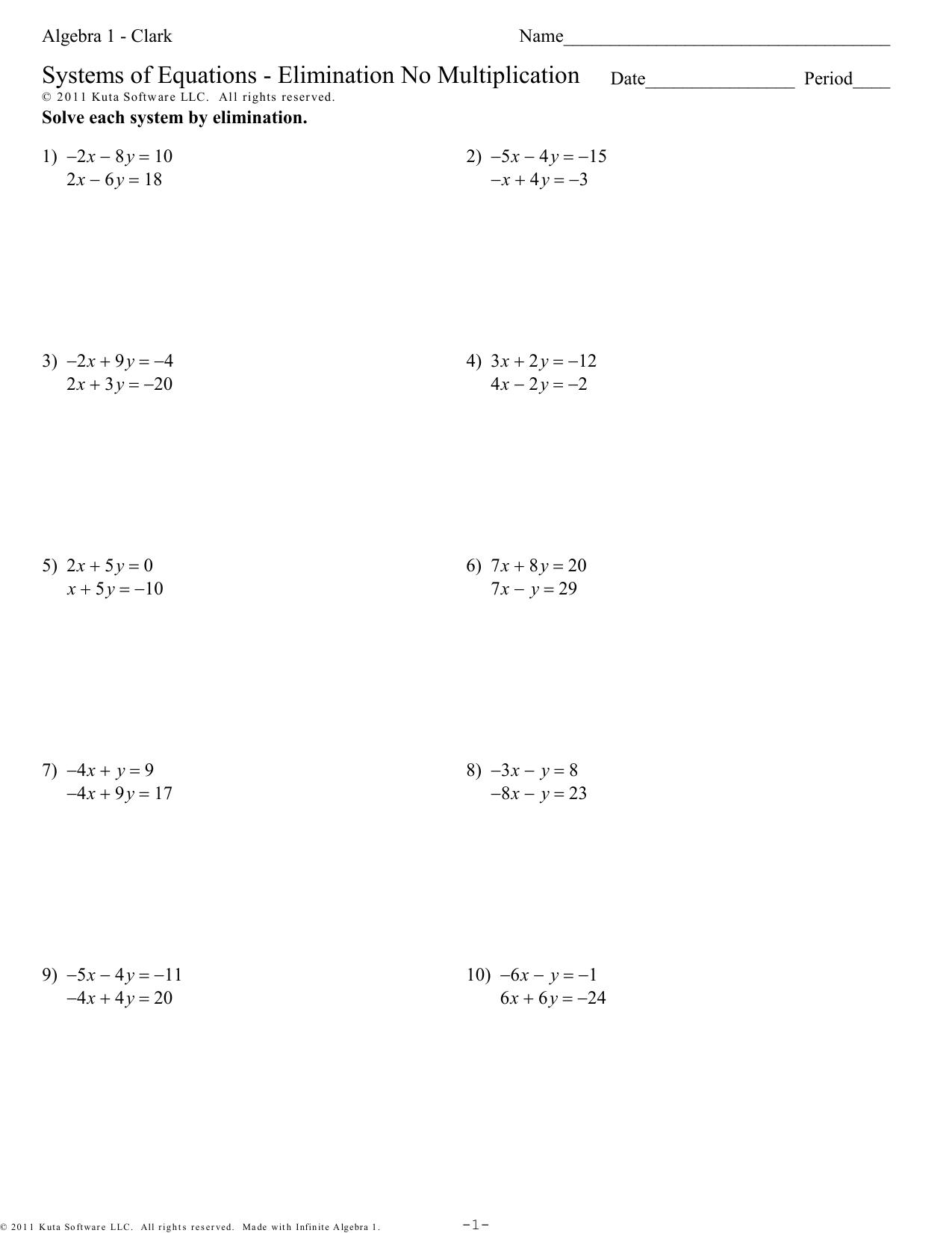 Algebra 1 Elimination Using Multiplication Worksheet