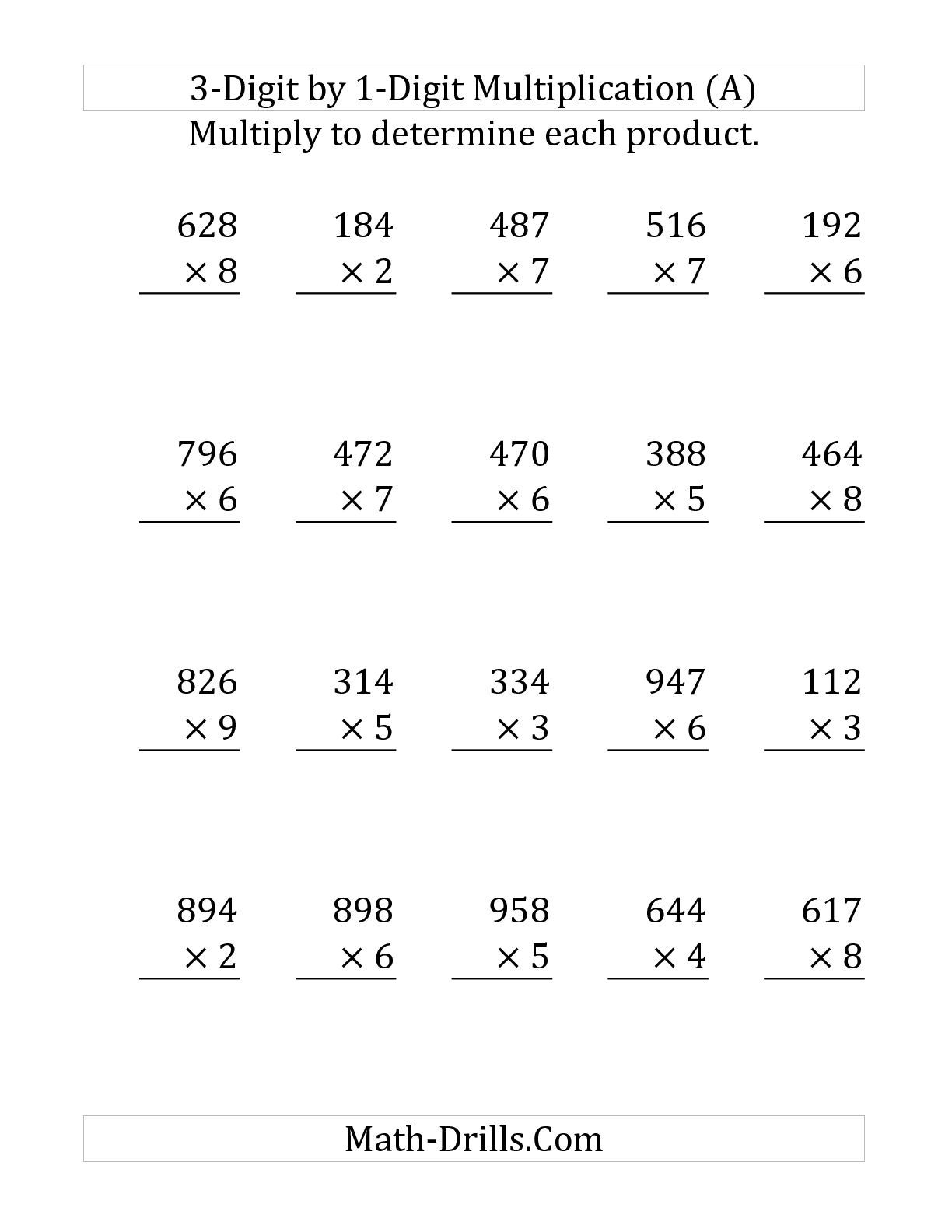 2 Digit X 1 Digit Multiplication Worksheets