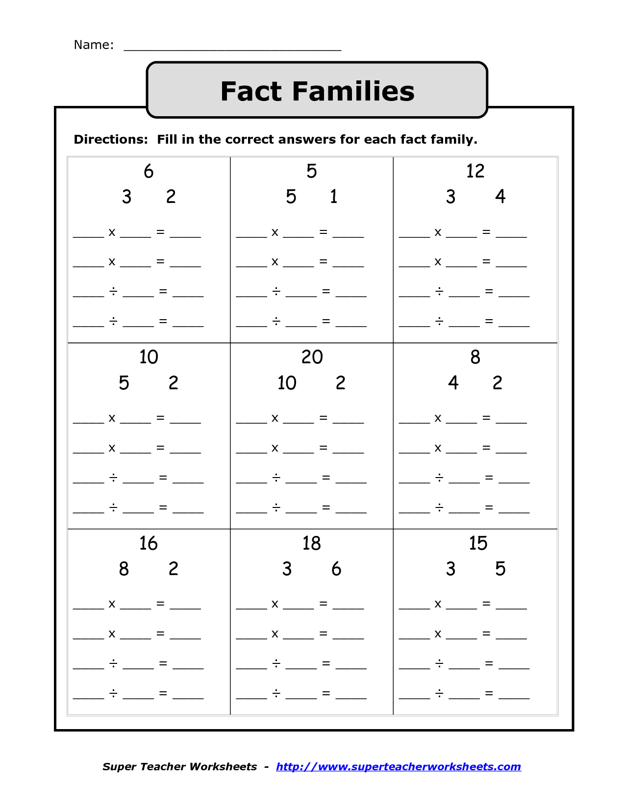Free Printable Multiplication Division Fact Family