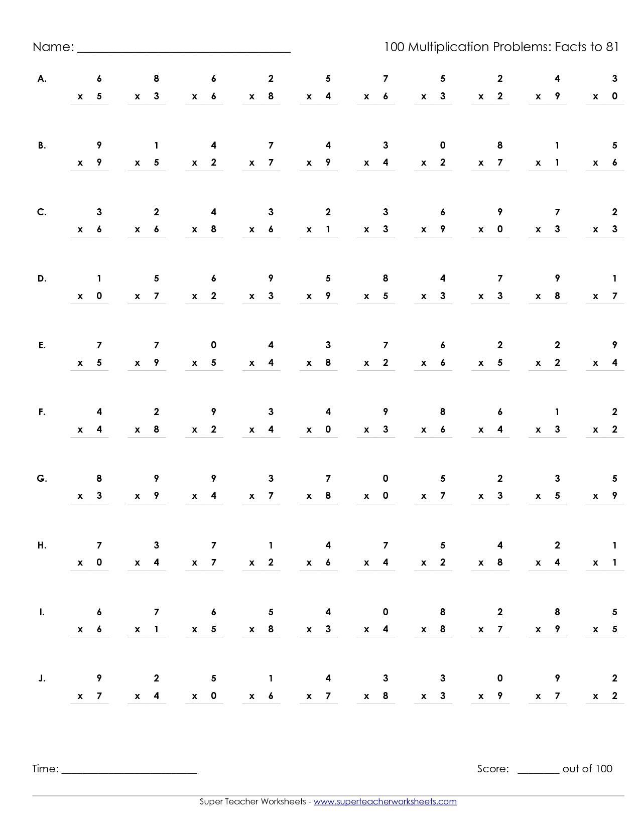 Multiplication Worksheets 3rd Grade Timed Test