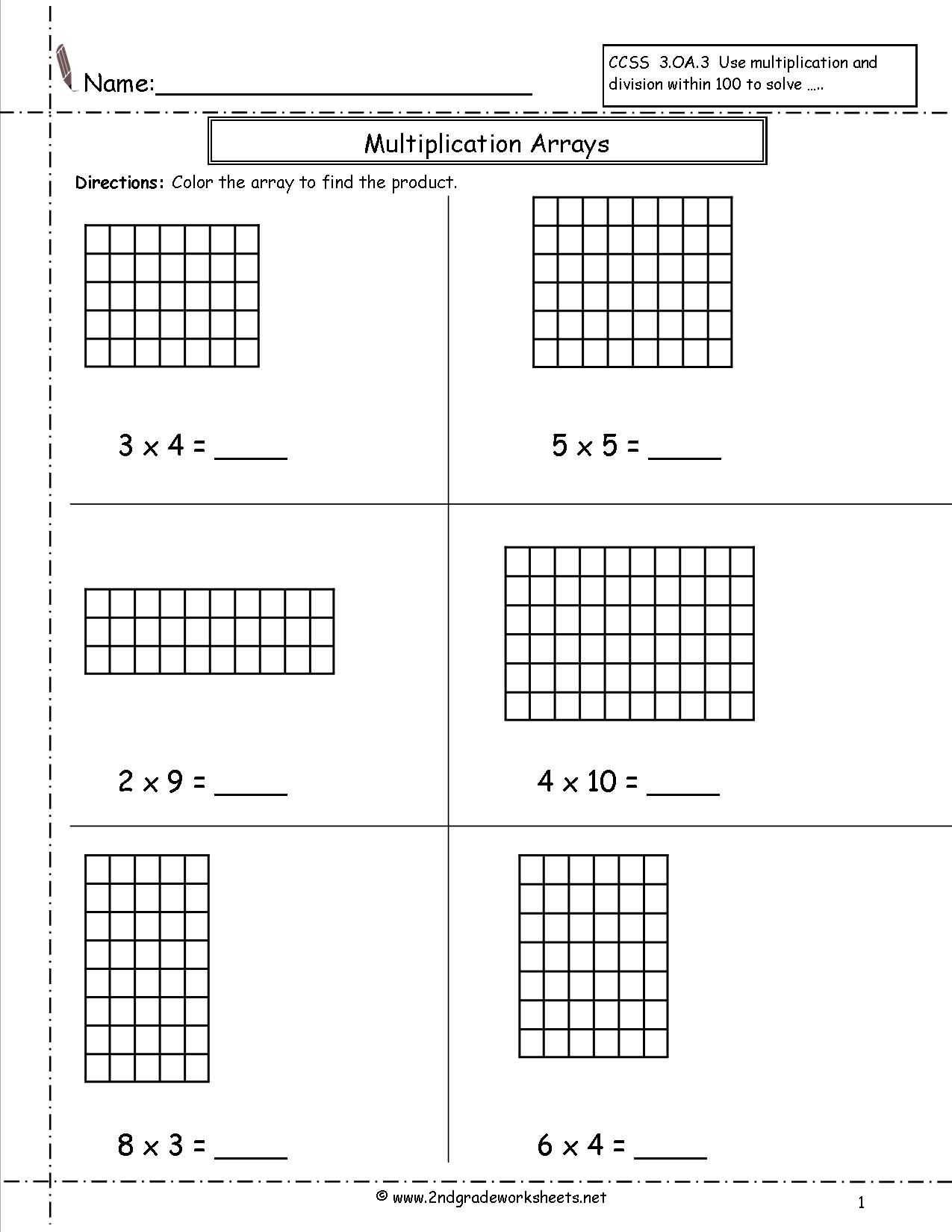Free Area Model Multiplication Worksheets