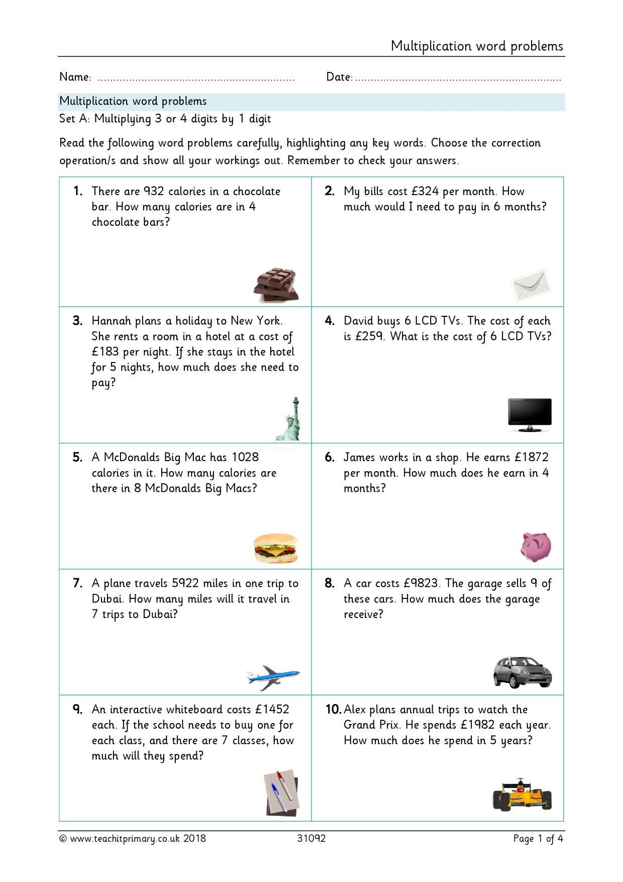 2 Digit Multiplication Word Problems Worksheet