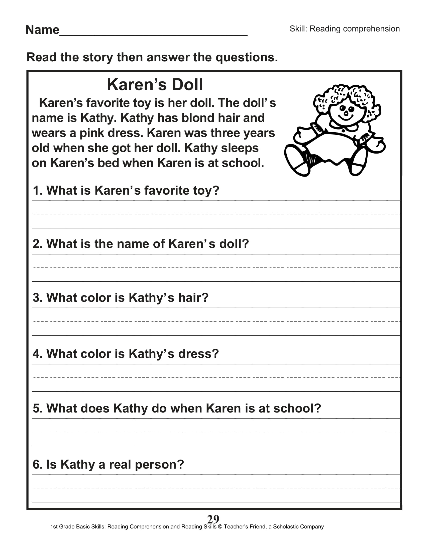 Reading Comprehension 2nd Grade Multiple Choice First