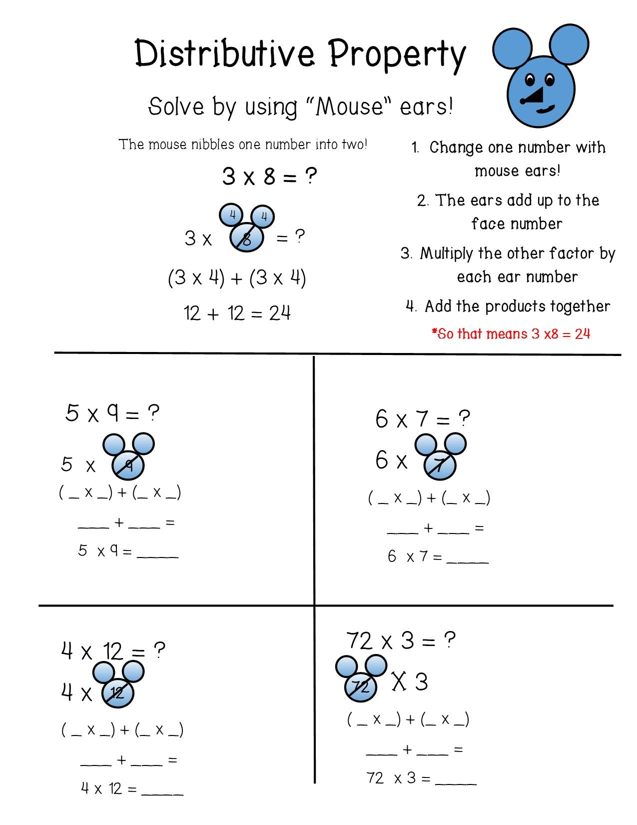 Identity Property Of Multiplication Worksheets 3rd Grade