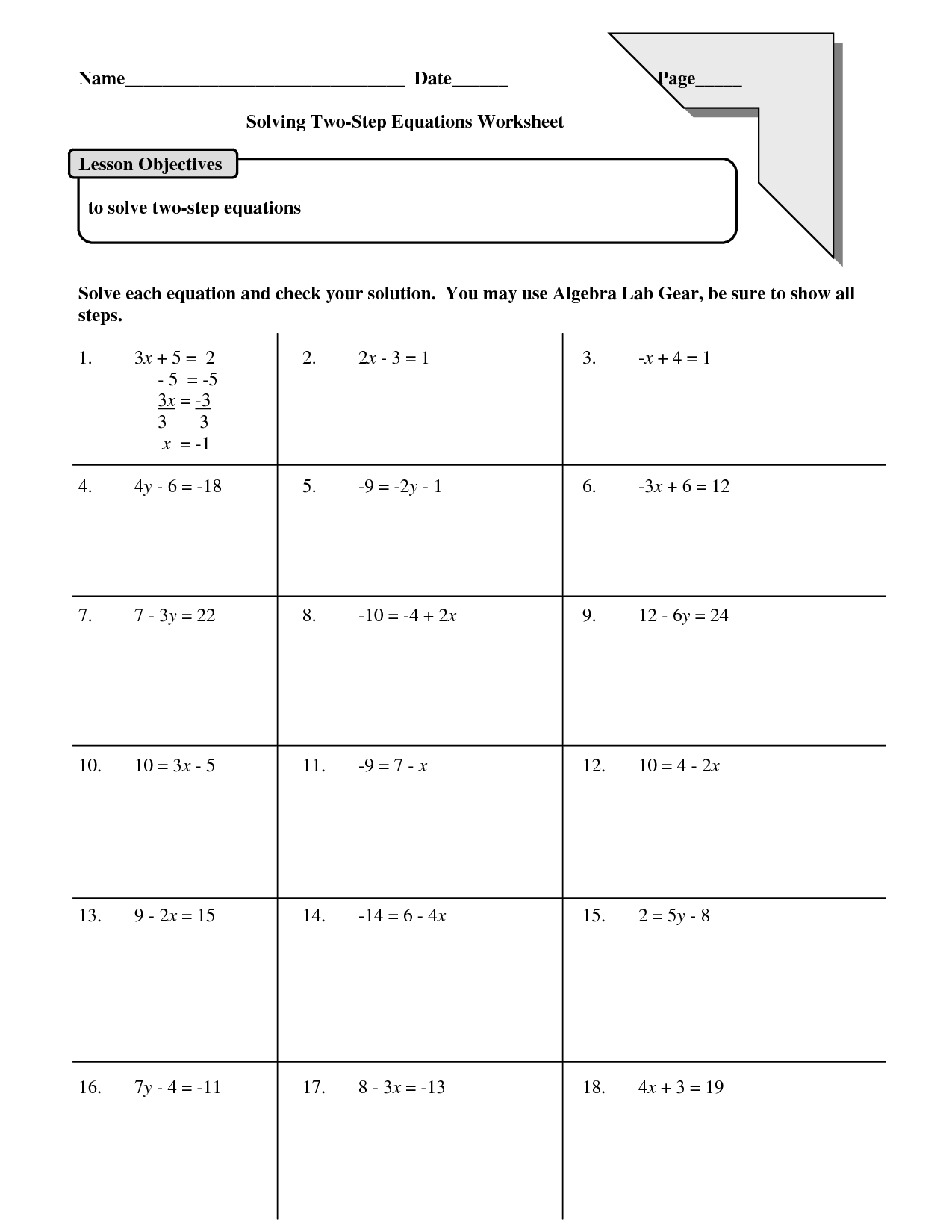 Two Step Equations Multiplication And Division Worksheet