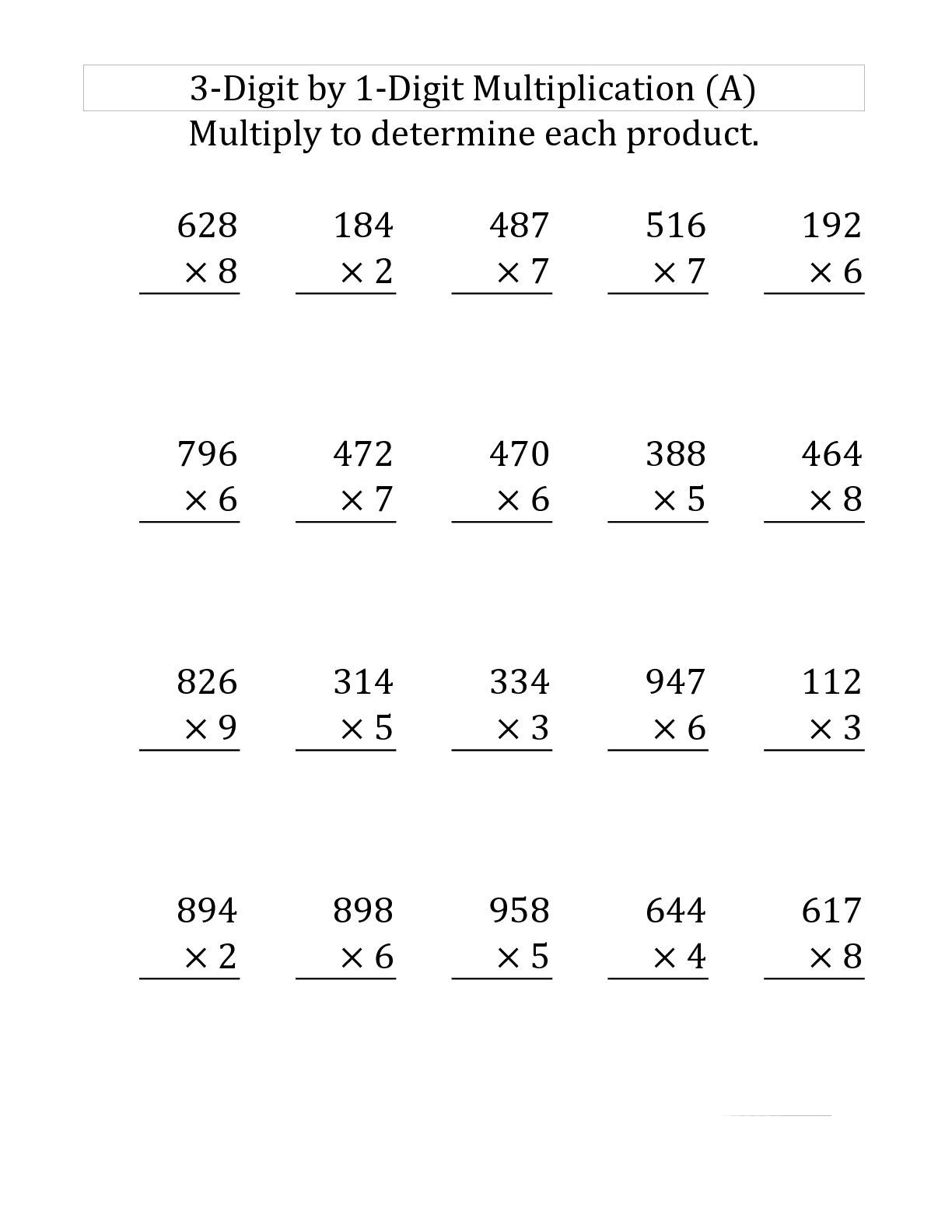 Short Multiplication Worksheets Year 3