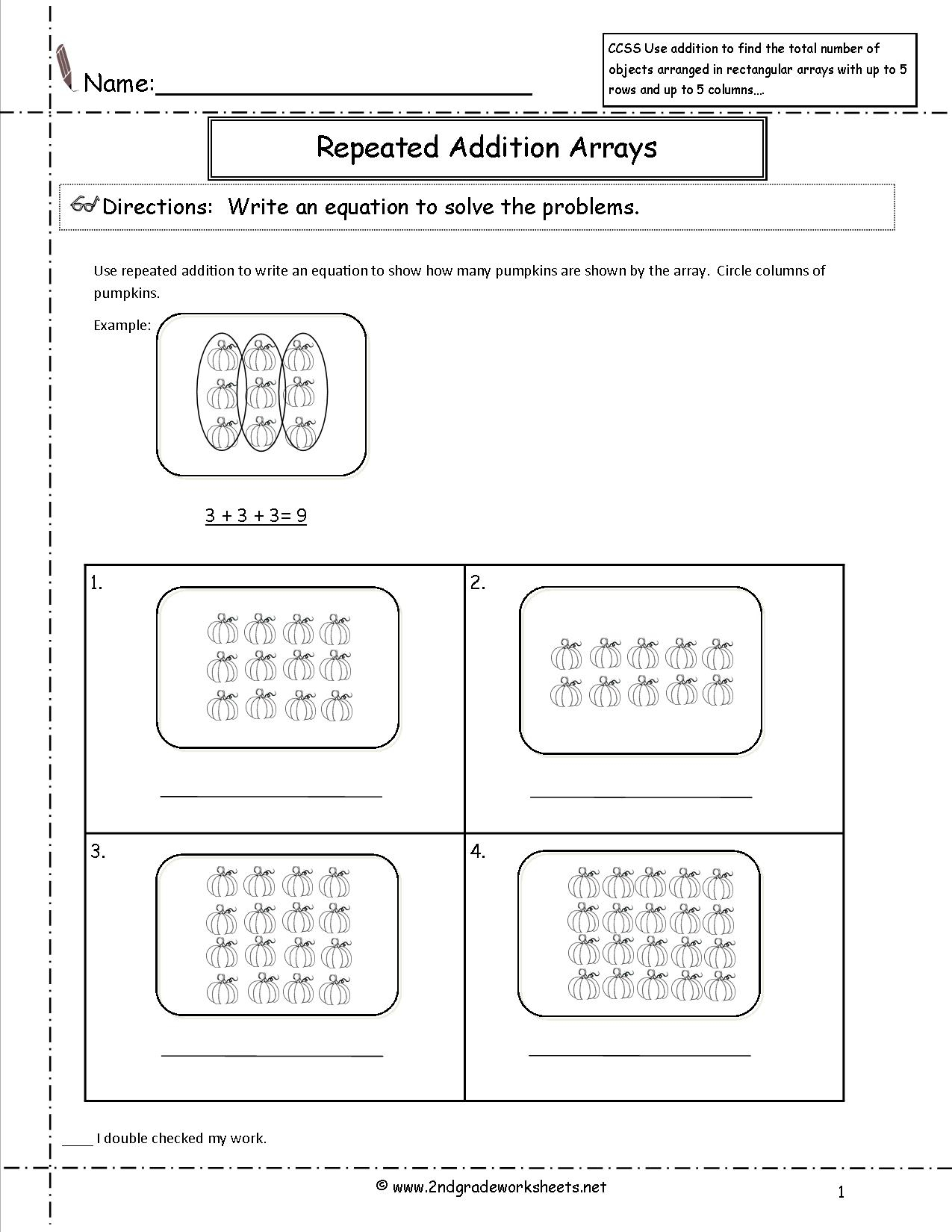 Multiplication Arrays And Repeated Addition Worksheets