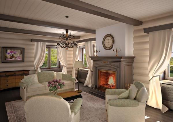 Современные идеи интерьера гостиной в деревянном доме ...