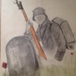 by Lesley Richardson 1979 inspired by poetry of Siegfried Sassoon, Wilfred Owen, Robert Graves and The Green Fields of France.