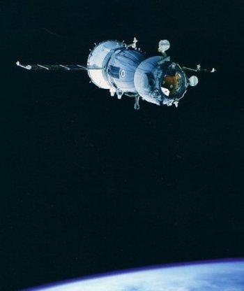A Russian Soyuz transport in low earth orbit