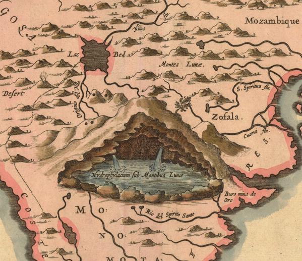 Mountains of the Moon, detail of 1655 Kircher Map of Africa