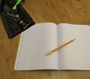 Notebook, Pencil, Clippers