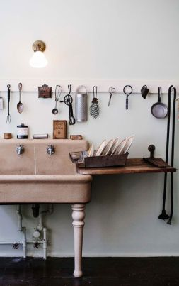 Creation of a countertop and spiced up with kitchenware on the wall
