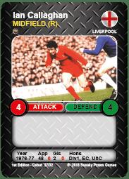 Ian Callaghan Liverpool FC Time Vault Soccer Football Card V3.1