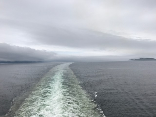 A distant view of fog in the Inside Passage of Alaska.