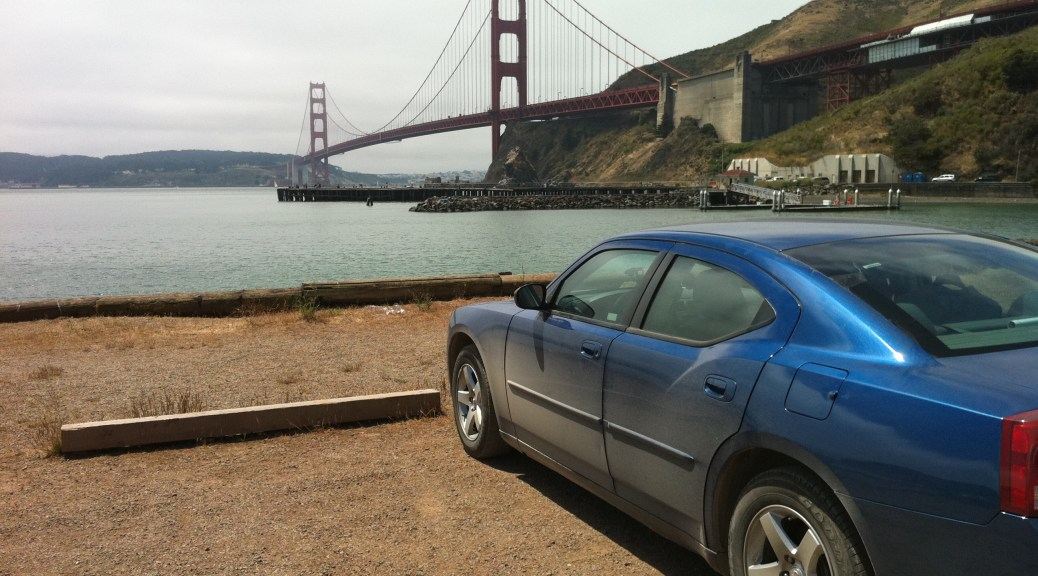 Blue Dodge Charger at the Golden Gate Bridge