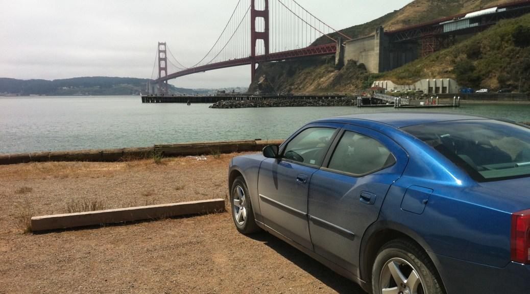 Blue Dodge Charger at the Golden Gate Bridge
