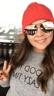 Nordstrom beanie, Quay high key sunglasses. H&M sweater