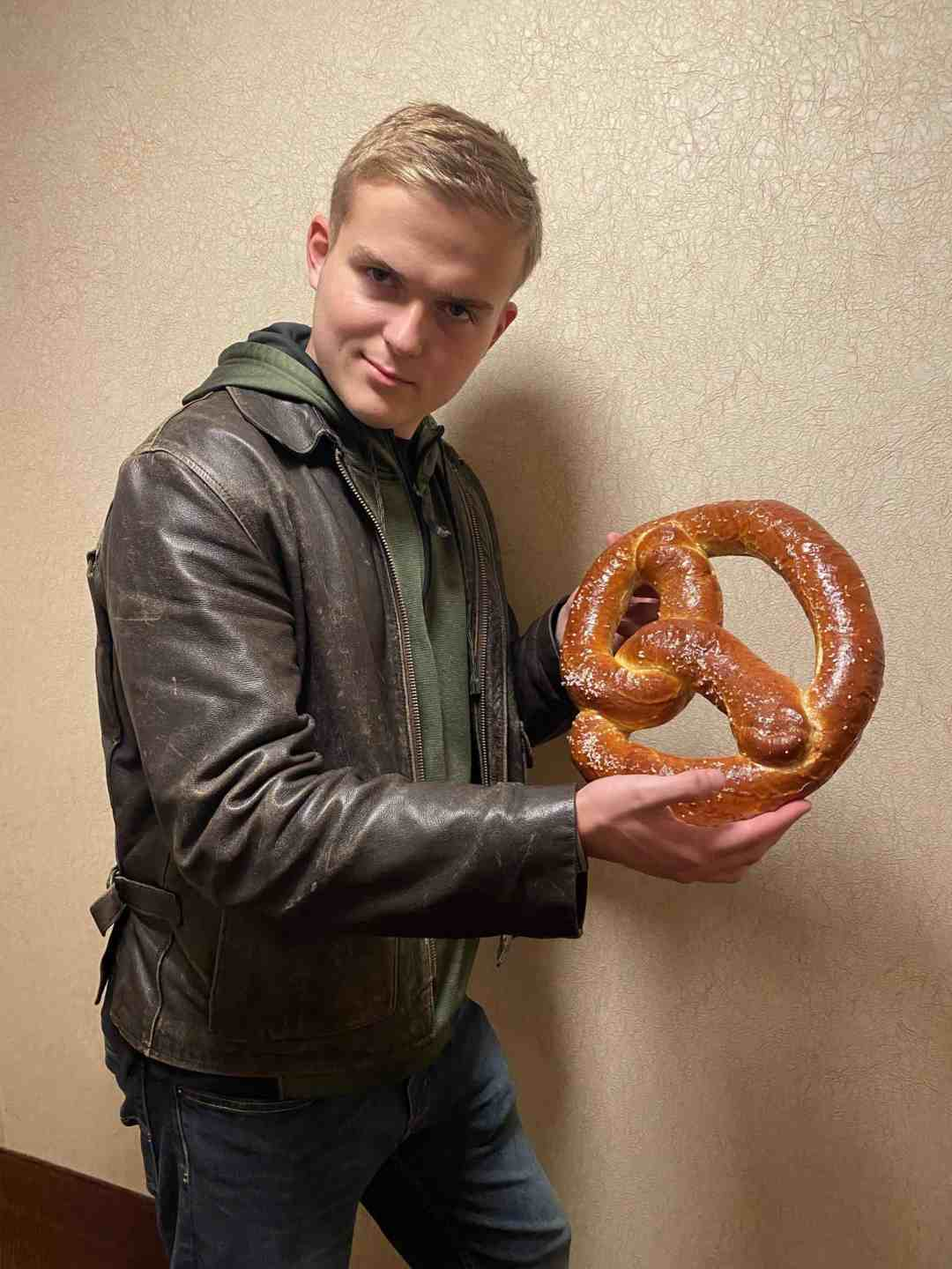 Giant pretzel larger than your head from Oma's Restaurant in Frankenmuth