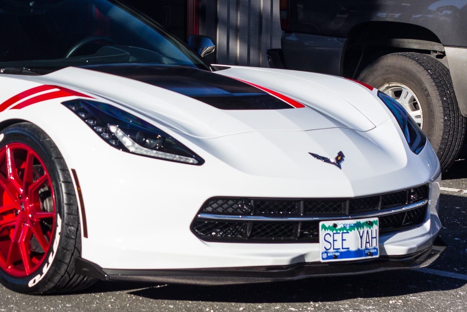This Stingray sports the vanity custom license plate SEE YAH in white, blue, and green.