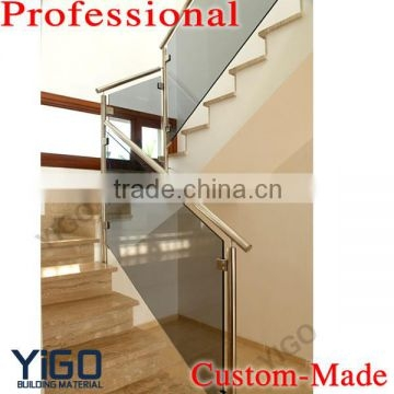 Modern Design Stainless Steel Glass Railing Model Interior Stair | Tempered Glass Stair Railing | Made Glass | Wood | Step | Indoor | Glass Design
