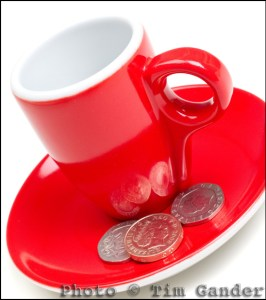 espresso cup and small change