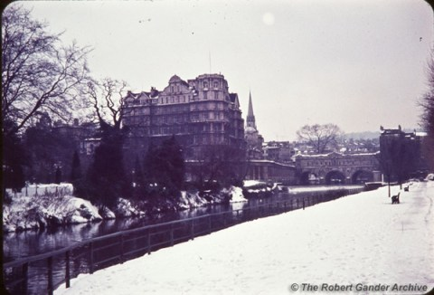 View of Pultney Bridge and Empire Hotel, Winter 1961