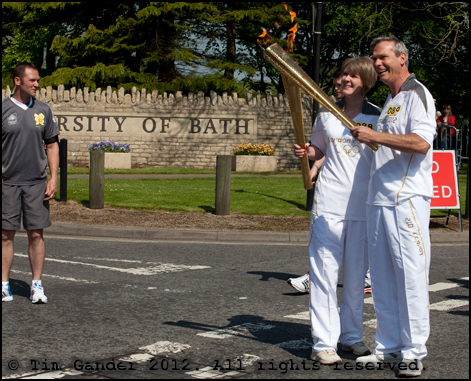 Olympic relay torch handover at University of Bath