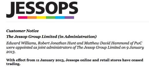 Screen grab from Jessops website