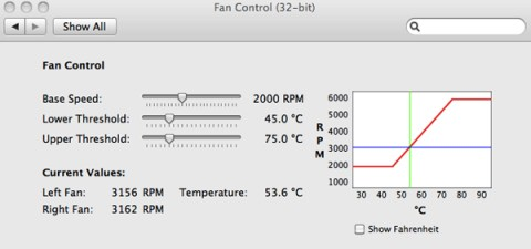 Fan Control preference pane for MacBook Pro