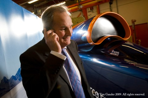 Richard Noble of Bloodhound SSC project on the phone