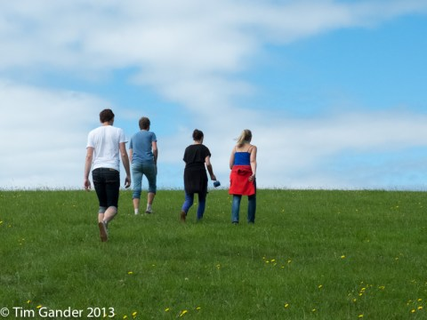 Four people, backs to camera, walking up a grassy meadow