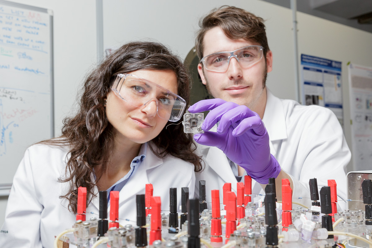 Press release photo for University of Bath highlighting the work of research into sustainable fuel cells.