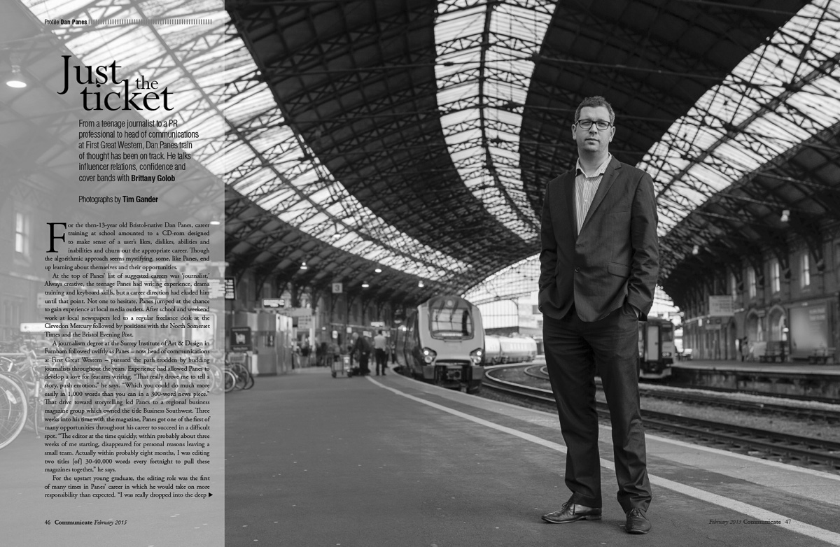 Photo of the magazine article featuring Dan Panes of First Great Western.
