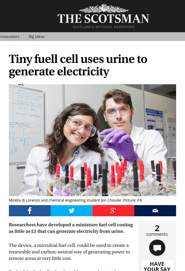 Screen grab of The Scotsman online use of image sent out with University of Bath press release explaining the research into urine-powered fuel cells.