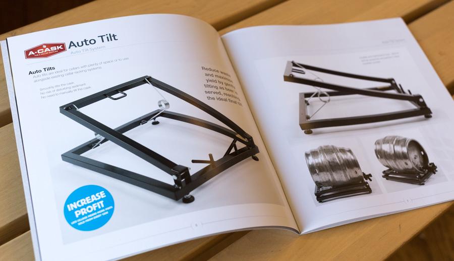 28/07/2015 A-Cask cellar supplies brochure showing Auto Tilt cask rack pages.