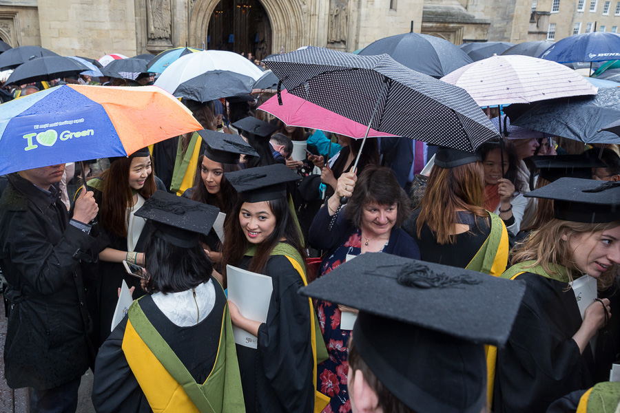 29/06/2016 Image from University of Bath Graduation Ceremony 4, Bath Abbey. Inside and outside the abbey, students receive and celebrate the culmination of their studies in spite of the rain!