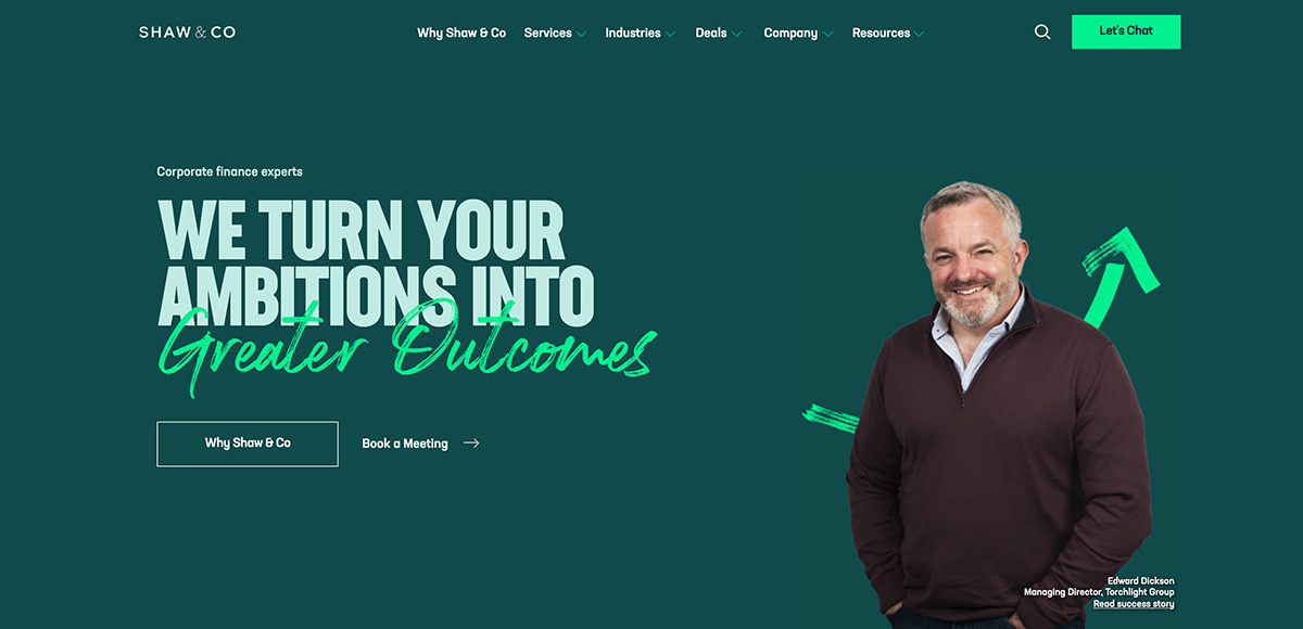 The Shaw & Co website homepage.