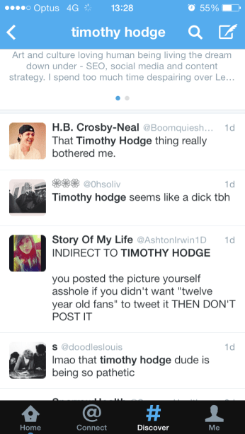 One Direction fans tweeting about @timothyhodge