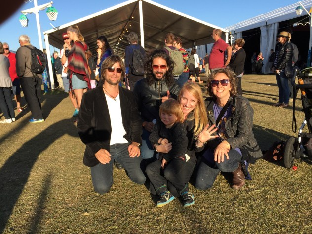 Tim Hulsman, Steve Hassett, Arlo Grant, Zoe Randel and Nina Grant at Port Fairy Folk Festival 2015.