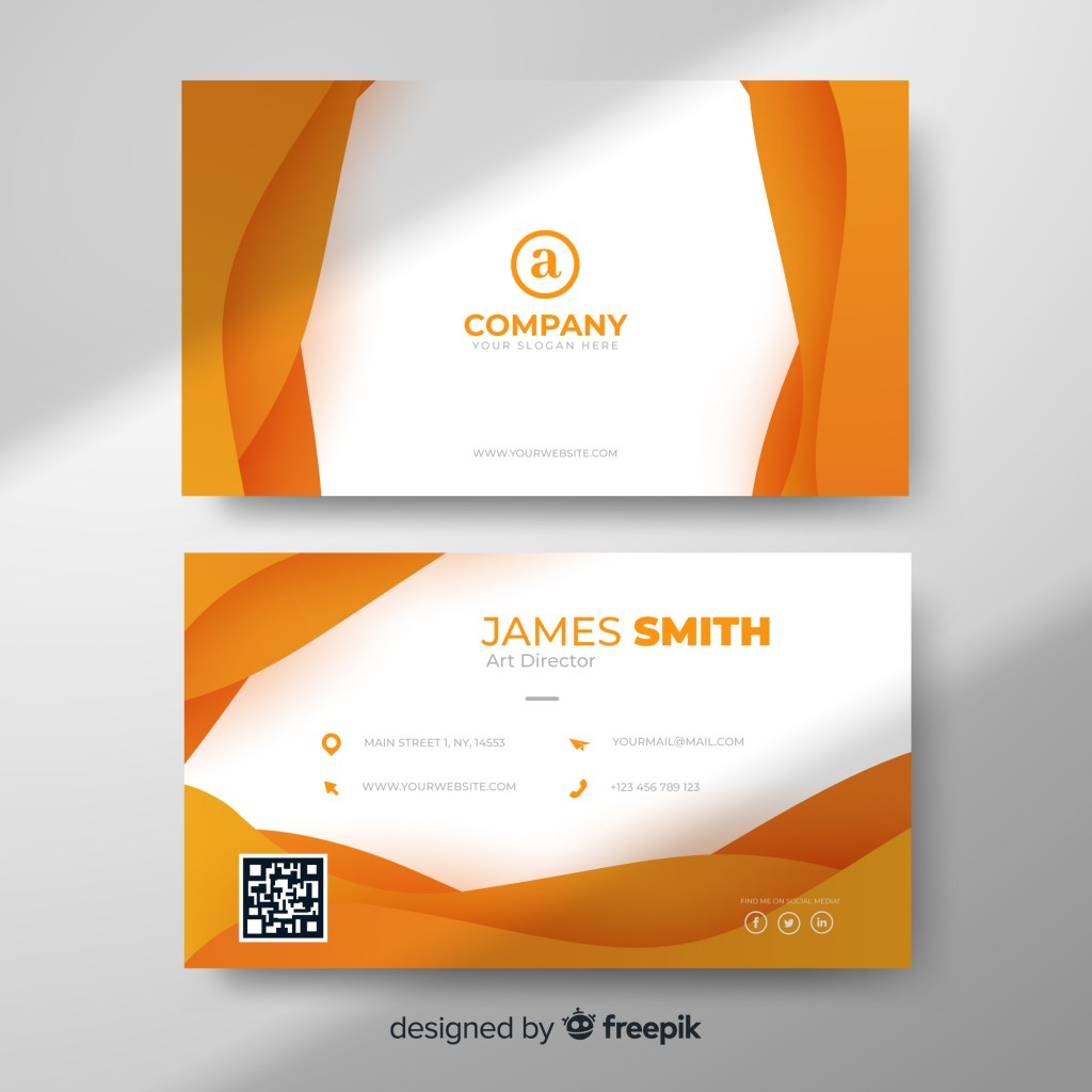 modern otange business card