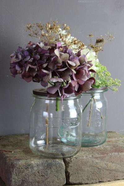 Blütendeckel für alte Einmachgläser Für Fensterbank, Tisch