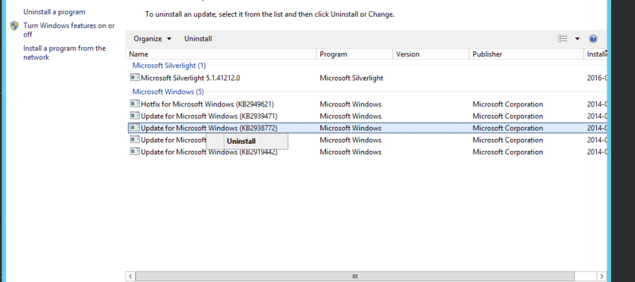 Powershell – Trigger uninstall of a Software update on a
