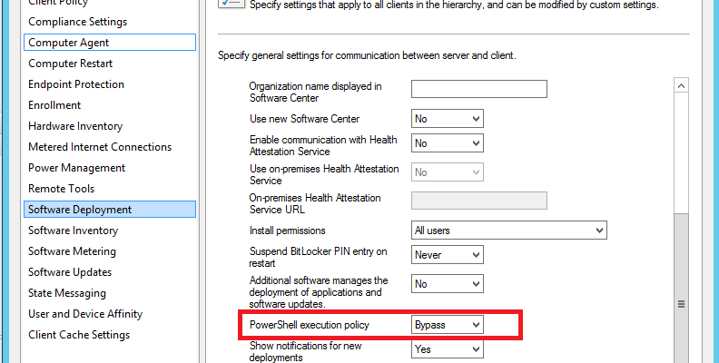 SCCM Client Setting – Powershell Execution policy bypass not