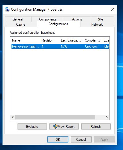 Baseline Evaluation with Run script feature in ConfigMgr