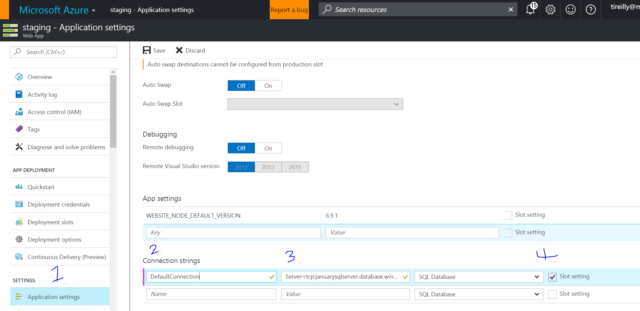Using Deployment Slot Settings in Azure Web Apps | Timmy