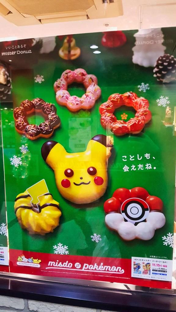Plakat für die Pokémon Donuts bei Mr. Donut
