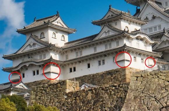 Bild einiger Ishiotoshi der Burg Himeji